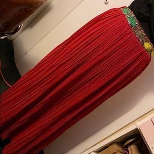 Maxi  Pleaded & hand Beaded Skirt | NEW |